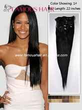 Hot sales top quality natural virgin Brazilian remy Hair clip in hair