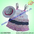Novo design para 2014 100% algodão aniversário da menina vestido vestidos de bebê