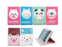 Tablet case cover stand cute cartoon Pu folio leather case for ipad mini, for ipad case leather folio ,for ipad mini case