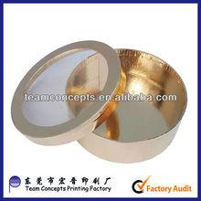 Glossy gold circle shaped cardboard boxes