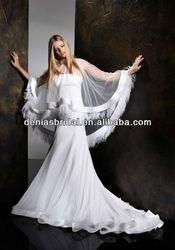 front or back shoulder cape empire waist maternity Korean bridal gowns
