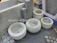 Hot Sale Granite Handmade Round Shape Outdoor Stone Flower Bowl Granite Garden Pots (24 years factory)