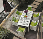 Modern design white rattan furniture dining set with nice woven/ wicker banquet outdoor dining furniture set/meubles de jardin