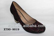 black glitter colorful stars mid heel women pump shoes