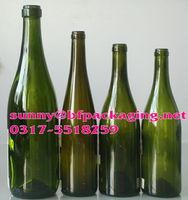 750ml dark green glass wine bottle with cork finish