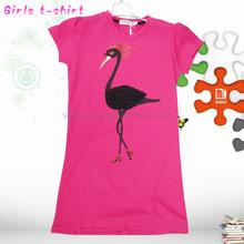 2014 summer design girl's long designed t-shirt for young girls