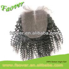 cheap 5A virgin mongolian kinky curly hair top lace closure