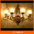 Risparmio energetico classico antico lampadario con paralume di vetro ft-7092-8