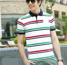 Top quality fancy design 100% cotton plain camisa de red and white stripes polo