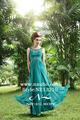 kristal dantel şık kolsuz taban uzunluğu Abiye zümrüt yeşil gece elbisesi