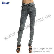 Garments Wholesale in Xintang China Women Snow Washed Skinny Figured Jean Curvy Girls Bleach Washed Denim Legging