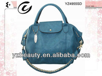 Modern fashion navy blue high end soft leather woman shoulder bags hobo bag