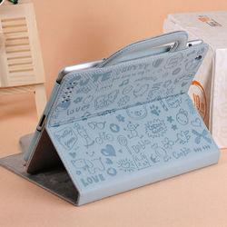 Cute cartoon small bag carry sand leather case for ipad 2 3 4