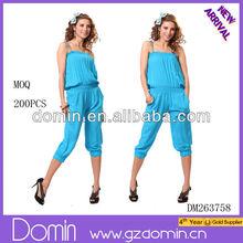 Hot summer ladies fashion jumpsuit ;pleated blouse