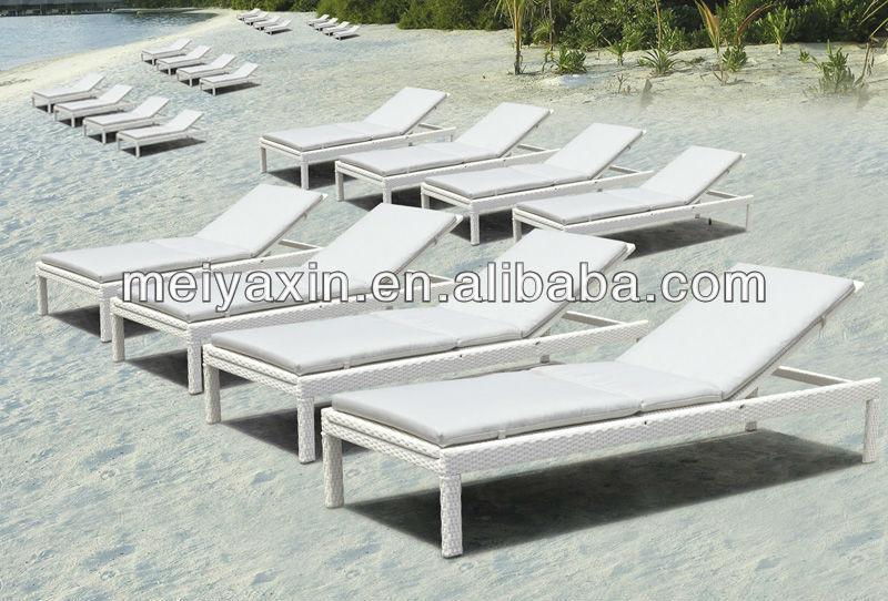 Ml-6003 venda quente PE rattan plástico lounge praia cadeiras