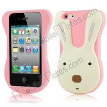Hot Selling Cute 3D Rabbit Silicon Case Cover for iPhone 4 4s(Pink)