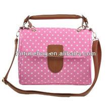 Fashion and top grade polka dot tote bag canvas