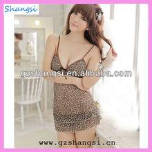 Leopard print ladies nighty sexy lingerie