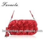 fashion beautiful girls leather handbags with flower on front of handbag