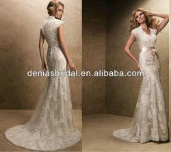 bronwyn marie-12723 sheath short sleeve ivory lace bridal gown