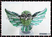 Hot sale animal hawk unique ring rhinestone jewellery