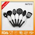 Venta caliente 6- pieza de nylon con utensilios de cocina de aceroinoxidable y mango de plástico