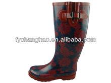 Lady Summer Red And Dark Blue Chrysanthemum Print Rain Boots