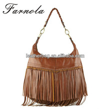 guangzhou factory wholesale suede leather fringe bag for ladies