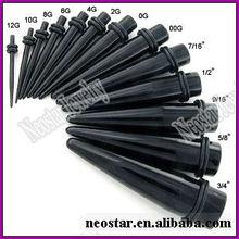 Black Acrylic Ear Piercing Tapers