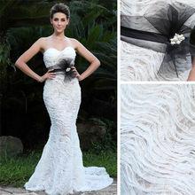 Sexy sweetheart tight mermaid wedding dress long tail 2015 ivory ruffles design black belt decorative bridal gown