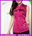 De color rosa de la libélula del Collar del mandarín chino cultura tradicional mujeres blusas