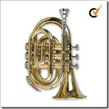 Golden Lacquered Bb Key Pocket Trumpet/Mini Trumpet (HTP8501G)