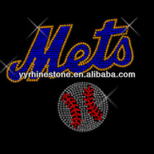 Mets with basebal rhinestone transfer hot fix design