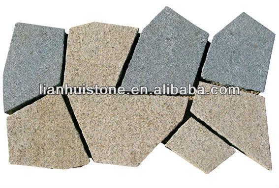 Mesh backed crazy granite paving stone