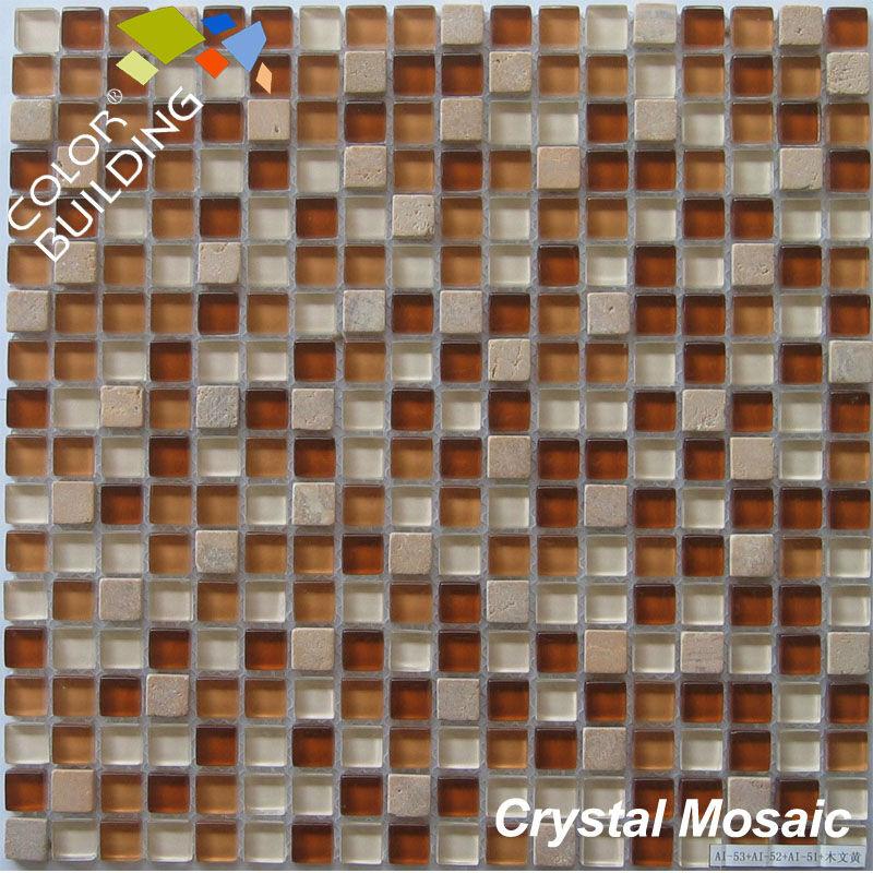 Glass stone tile blend decoration