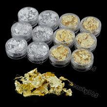 12 PCS Nail Art foil paper Article Glitter Flash Decoration Golden/Silver
