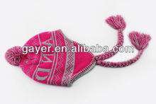 POMPOM KNITTED JACQUARD EARFLAP HAT