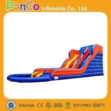 GI158 colorful pvc inflatable water slide with pool / backyard slide / slip slide