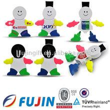 snowman shape highlighter pen for children/many colors highlighter marker/indelible marker pen/novel promotional articles