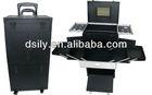 PVC beauty case aluminum tool case rolling cosmetic train case lockable box