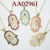 fashion jewelry accessories metal fatima hand opal hamsa penbdant necklace