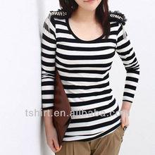 womens long sleeve black white striped t shirts