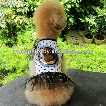 Wholesale black dot dog dress/pet clothes