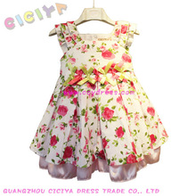 Sweet cotton girl's frock stock with flower printing
