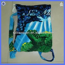 Cotton folding beach towel bag/beach towel in bag/beach bag towel