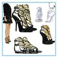 Sexy gold leaf flat sandal shoes! Women fashion high heel ladies sandals
