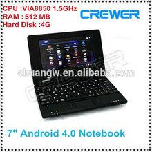 mini laptop 10 inch Android 4.0 VIA 8850 Cortex A9 1.5GHZ HDMI &WIFI & Camera
