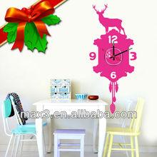 Popular DIY Vinyl Waterproof Wall Sticker Gifts Clock for Christmas Decorative