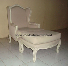 Wing Chair Classic French Style Living Room Sofa Antique Reproduction Sofa Stool Vintage European Home Furniture