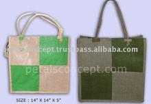 Chess square design jute shopping bag